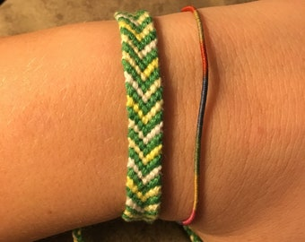 Green, Yellow, and White Friendship Bracelet