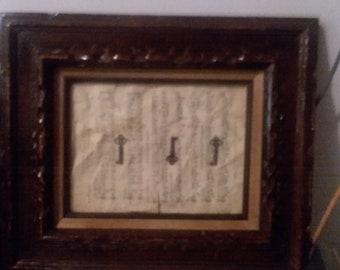 Framed skeleton key picture