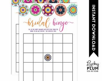 Fiesta Baby Bingo / Mexican Baby Bingo / Fiesta Baby Shower Games / Mexican Baby Shower Games / Colorful Folk Art / DIY Printable FT01