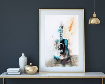 Guitar Wall Art, Art print, Watercolor Art print, wall art,home decor,Gift For the Musician ,Guitar painting, Birthday, For the  music lover