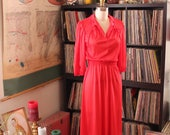 70s vintage red dress with collar tie, elastic waist . micro polka dot dress, womens size small