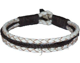 Braided White leather & Dark brown hemp bracelet or anklet