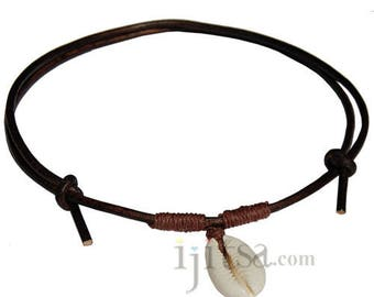 Dark brown leather, brown hemp  Cowry shell adjustable necklace