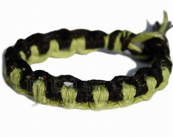 Pistachio and black interlocked hemp bracelet or anklet