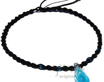 Clear Blue Swirl Glass Teardrop Pendant Twisted Hemp Surfer Choker Necklace
