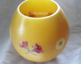 Beeswax, Pressed Flower Gift, Beeswax Lantern, Wax Luminary, Unique Beeswax Candle, Flameless Hurricane, Beeswax Candle, Colorado Gift