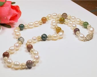 "White freshwater rice pearl and jasper 19"" necklace, hand-knotted AAA 7.5-8.5mm cultured rice pearls, 8mm round jasper, .925 sterling clasp"