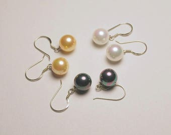 "Mother of pearl 1/2"" dangles, high luster white, golden, or black round 10mm pearls, mother of pearl drops, .925 sterling silver fishhooks"