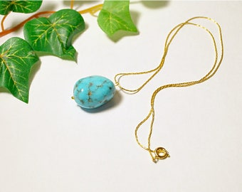 Genuine turquoise nugget pendants, turquoise rounded free form gemstones, drilled turquoise gemstones, handmade 14K gold plated tube chains