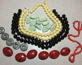 Red Coral, Yellow Black Shell Pearls, Donuts and Large Red Ceramic Beads