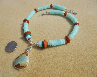 Pendant Necklace - Handmade - Blue Peruvian Opal, Lampwork Glass, Sterling Silver