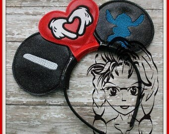 I HeART BLUE ALiEN Inspired (3 Piece) Mr Miss Mouse Ears Headband ~ In the Hoop ~ Downloadable DiGiTaL Machine Emb Design by Carrie