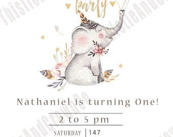 Boho Birthday Customizable Invitation Invite 5x7 Editable Elephant Flowers Feathers Chic PDF