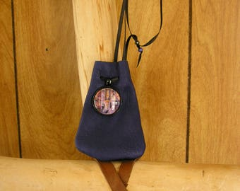 "Goddess leather pouch, navy blue leather with adjustable ribbon drawstring neck cord, glass charm, pouch is 3.75"" x 2.5"""