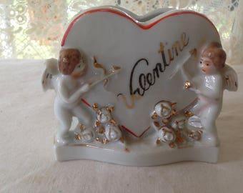 Cupid Valentine Vase Gilded Porcelain Vintage Home Decor For Your Sweetie 1980s