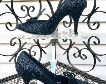 DEADSTOCK Black GLITTER Vintage 50's / Early 60's High Heel STILETTO Shoes / So Marilyn Monroe! / size 4 1/2