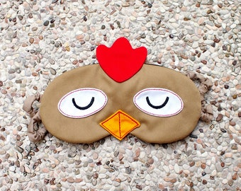 Sleep Mask, Sleep Eye Mask, Eyemask, Rooster Mask, Chicken Mask, Chicken sleep eye mask, BROWN Chicken, Sleeping Mask, Chicken Gifts