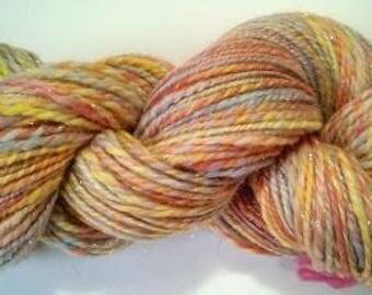 Superwash, Merino, Stellina, Handspun, Knitting Yarn, Crochet, DK Light, 2 ply, Red, Yellow
