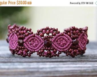 SUMMER SALE Micro-Macrame Beaded Cuff Bracelet - Berry
