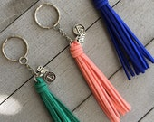 """Graduation Gift Tassel Keychain with Initial and 2018 Charm - Gift for College or High School Graduate - 3.5"""" Mini Tassel on Keyring"""