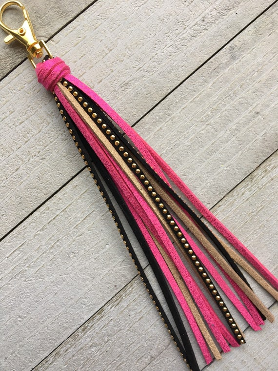 "Handbag Tassel Charm - 6"" Hot Pink Gold & Black - Purse Tassel, Zipper Pull, Faux Leather Tassel, Gift for Her Under 15 (KC509)"