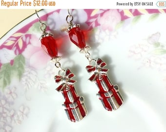 Christmas in July SALE. Christmas Earrings, Wrapped Gifts with Red Bow Beaded Dangle Earrings for Xmas Holiday, Stocking Stuffer, Handmade K