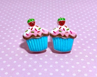 Blue Cupcake Studs with Sprinkles and a Strawberry on Top, Food Studs, Kawaii Studs, Cute Studs, Large Fun Novelty Studs, KreatedbyKelly