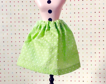 Lime Green Swiss Dots Simple Swing Skirt for Blythe