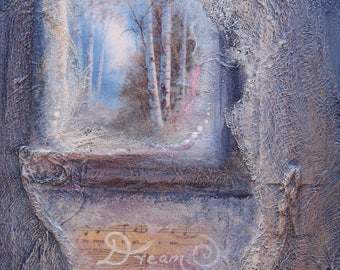 Wall Art Mixed Media Acrylic Blue Painting Birch Forest Surrealistic Modern Art by Griselda Tello