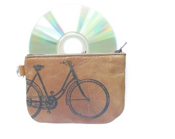Vintage Bike Brown Zip Wallet Reclaimed Leather