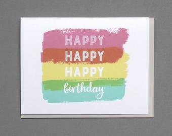Brushstroke Birthday Greeting Card - Flat Printed