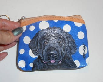 Newfoundland Dog Hand Painted Leather Coin Purse Mini wallet vegan
