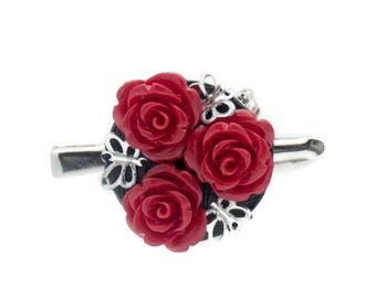 Set of Rose and Butterfly Hair Clips Doubles as a Brooch