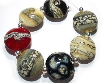 Handmade Glass  Lampwork  Beads,  Ivory, Red  & Black Strata Lentils