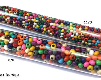 Heavy Metal Seed Bead, 11/0, Multi-Colored, approx 50 grams
