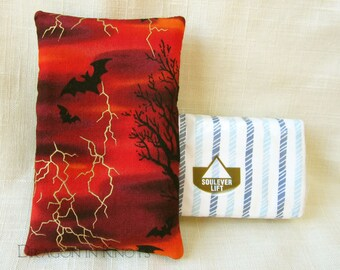 Bat Travel Tissue Holder - Halloween Pocket Tissue Cover, Red and Black Facial Tissue Pack Pouch, Stormy Night, To go Accessory