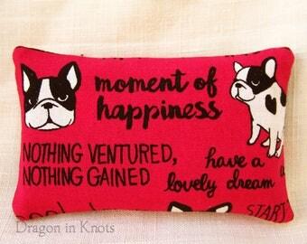 French Bulldog Travel Tissue Holder - Dog Pocket Tissue Case, magenta black offwhite fabric accessory, dog lovers gift, inspirational quotes