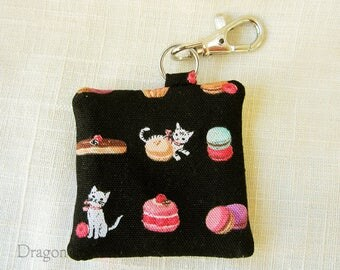 Kittens and Macarons Earbud Case - Dessert Cats Guitar Pick Holder, Black Fabric Keychain Pocket with Swivel Clip, Gift for Cat Lover