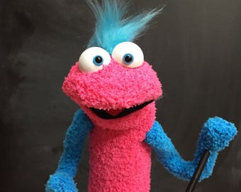 Sock Puppet Monster, Hand and Rod Puppet, Hot Pink Sock Puppet, Blue Accents, Arm Rods