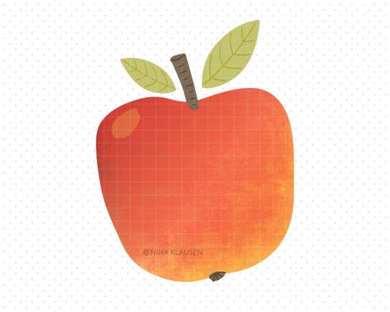 Red Apple Clip-Art / Single Fruit Artwork / C0005