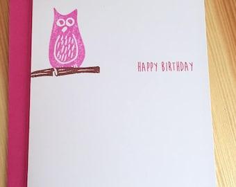 Pink Owl Happy Birthday Card - Bird Birthday Card - Hoot Owl Birthday Card - Hand Printed Owl Birthday Card