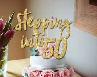 50th cake topper, Stepping into 50 glitter cake topper 50th birthday decoration