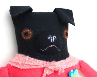 Black Pug Girl in Pink and Gray wool doll plush softie art