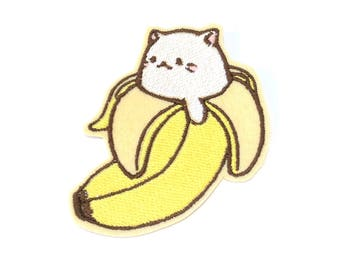 Bananya Cat Banana Kawaii embroidered iron on patch
