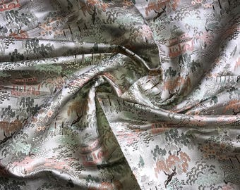 Silver - Green Silk Brocade