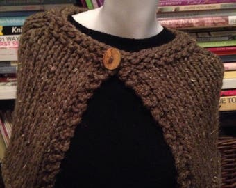 SALE Brown Tweedy Handknit Capelet Wrap Shawl with Reclaimed Wood Button