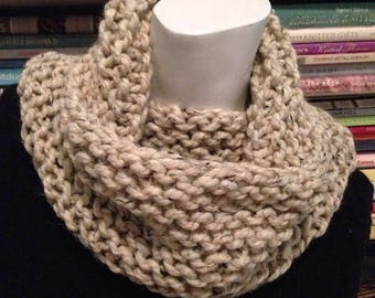 SALE Oatmeal Knit Cowl, Ivory Tweed Knitted Chunky Neck Warmer Scarf