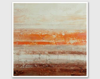 """Abstract PRINT of Painting """"Sahara Taupe"""" by Lisa Carney - Abstract Landscape, Wall art, Giclee Print, Modern, Minimalist, Orange, Brown"""