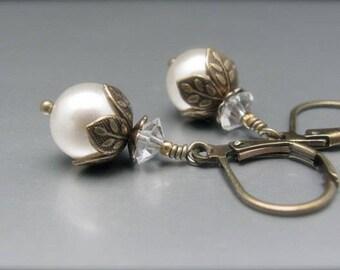 White Swarovski Pearl Earrings, Vintage Style Dangle Drop, Victorian Look Pearl Jewelry, Bridal Wedding Bridesmaid, Officewear, Summer White