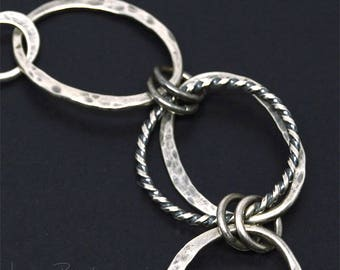 Organic Style Oxidized Sterling Silver Links Bracelet with Twisted Metal
